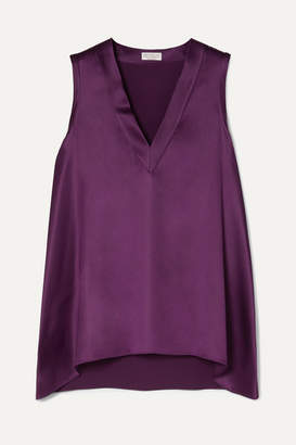 Brunello Cucinelli Stretch-silk Satin Top - Purple