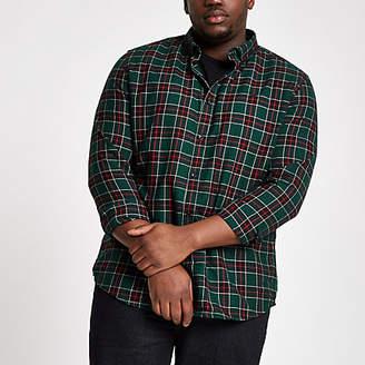 River Island Big and Tall green check button-down shirt