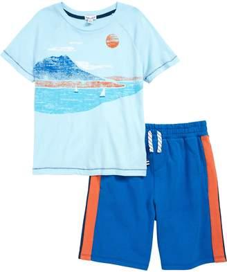 Splendid Beach Screen Print T-Shirt & Shorts Set