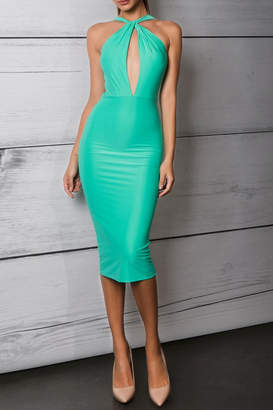 Savee Couture Green Cross Front Dress