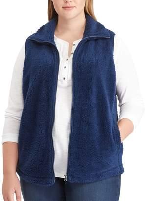 Chaps Plus Size Buffalo Check Fleece Vest
