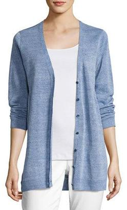 Eileen Fisher Painted Fine Linen Crepe Cardigan, Catalina $268 thestylecure.com