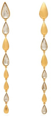 Ryan Storer Tears Crystal Embellished Earrings - Womens - Gold