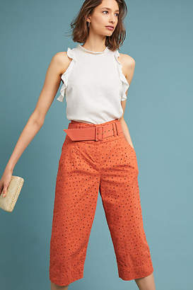 Where Mountains Meet Cropped Eyelet Trousers
