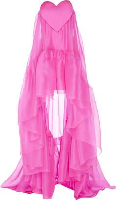 Paule Ka Heart-Detail Silk Organza Gown