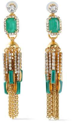 Elizabeth Cole Sutton 24-Karat Gold-Plated Stone And Crystal Earrings