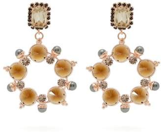 Erdem Crystal And Faux Pearl Hoop Drop Earrings - Womens - Grey