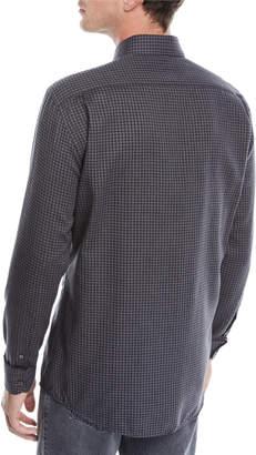 Ermenegildo Zegna Cotton/Cashmere Small Check Button-Down Shirt