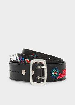 Paul Smith Men's Black Embroidered 'Ocean' Pattern Leather Belt