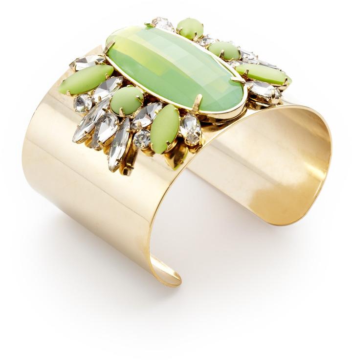 Noir Green & Clear Stone Cuff Bracelet