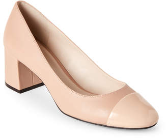 Cole Haan Nude Dawna Cap Toe Block Heel Pumps