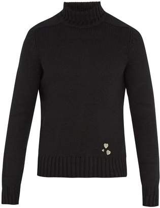 Saint Laurent Pin-embellished roll-neck cashmere sweater