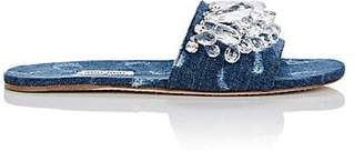 Miu Miu Women's Crystal-Embellished Denim Slide Sandals - Bleu