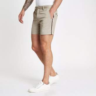 River Island Light brown tape side slim fit chino shorts