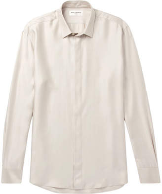 Saint Laurent Modal, Silk And Cashmere-Blend Shirt