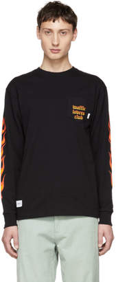 Vans Black and Red WTAPS Edition Flame Long Sleeve T-Shirt
