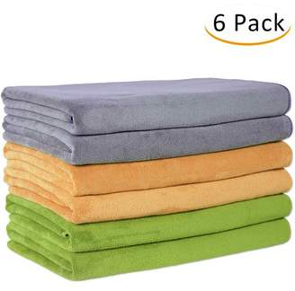 """Unbranded 100% Microfiber 6-Piece Bath Towel Set (27 x 55"""") - Extra Absorbent, Fast Drying,Solid Camel/Grey/ Teal"""