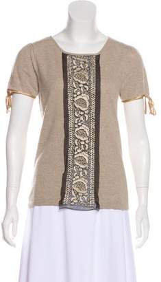 Philosophy di Alberta Ferretti Embroidered Short Sleeve Top