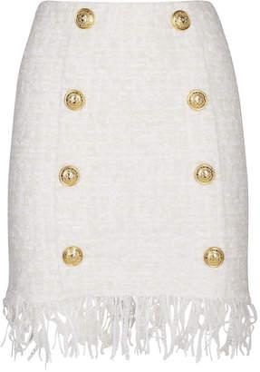 Balmain Fringed Hem White Tweed Skirt