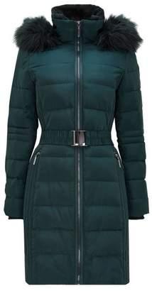 Wallis Green Midi Belted Padded Coat