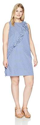 London Times Women's Plus Size Sleeveless Ruffle Front Shift Dress