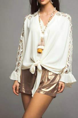 Casting Maldive Sequin & Lace Slv Tie Front Blouse