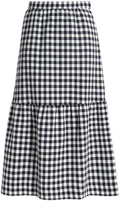 Mother of Pearl Gingham Cotton-Blend Woven Midi Skirt