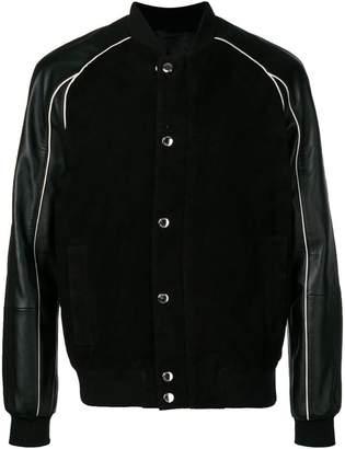 Les Hommes contrast trimmed bomber jacket