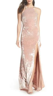 Xscape Evenings Beaded Crushed Velvet Gown