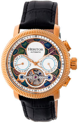 Heritor Automatic Aura Rose Gold & White Leather Watches 44mm