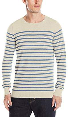 Tommy Hilfiger Tommy Jeans Men's Lambs Wool Nylon Crew Neck Stripe Sweater