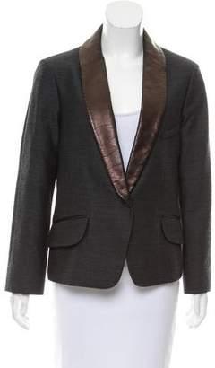 Saint Laurent Leather-Trimmed Knit Jacket