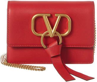 Valentino V-Ring Leather Clutch