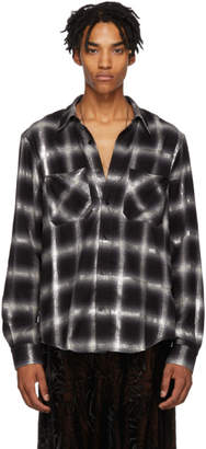 Amiri Black and Grey Glitter Plaid Shirt