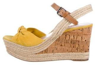 Prada Sport Suede Cork Wedge Sandals