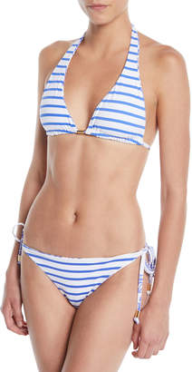 Letarte Reversible Elephant/Stripes Triangle Bikini Top
