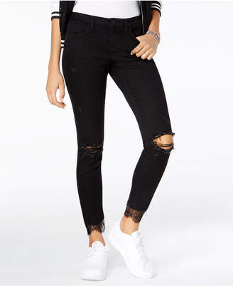 Blue Desire Juniors' Lace-Cuff Ripped Jeans
