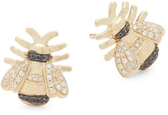 Black Diamond Casa Reale Women's White Diamond, and 14K Yellow Gold Stud Earrings