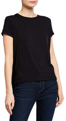 Neiman Marcus Majestic Paris for Crewneck Short-Sleeve Tee with Inverted Back Pleat