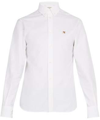 MAISON KITSUNÉ Logo Embroidered Cotton Oxford Shirt - Mens - White