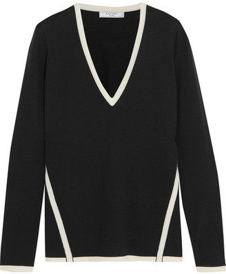 Lanvin - Two-tone Wool Sweater - Black $935 thestylecure.com