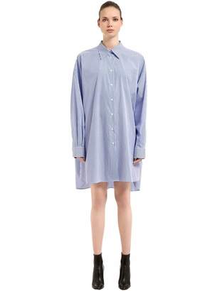 Maison Margiela Oversize Striped Poplin Shirt Dress