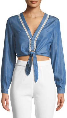 Lovers And Friends Carmine Tie-Front Chambray Blouse