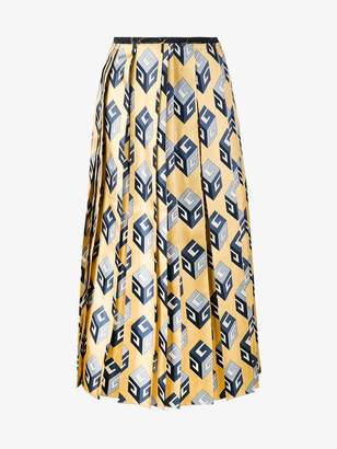 Gucci GG Wallpaper print silk skirt