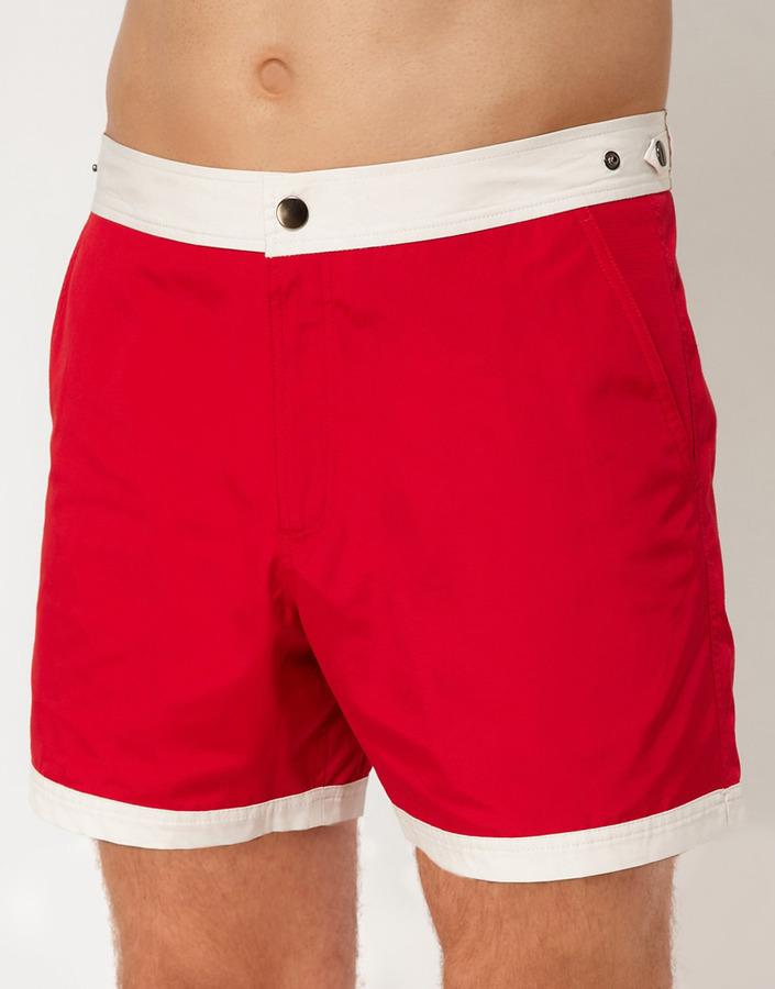 Asos Swim Shorts With Contrast Waist And Hem