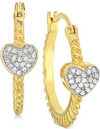 Townsend Victoria Diamond Heart Hoop Earrings (1/4 ct. t.w.) in 18k Gold-Plated Sterling Silver