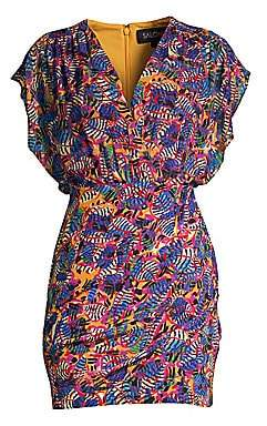 Saloni Women's Brooke Silk Tropical Mini Dress - Size 0
