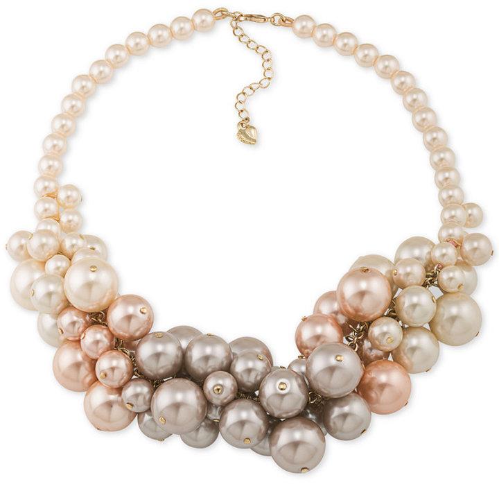 CaroleeCarolee Gold-Tone Ombré Imitation Pearl Collar Necklace