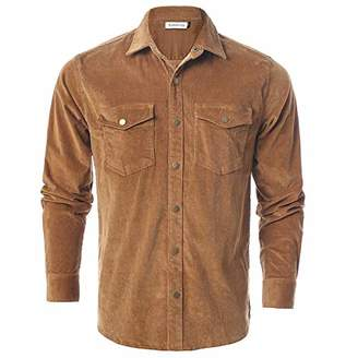 Chain Stitch Mens Long Sleeve Thick Corduroy Shirt Casual Button Down Jackets Khaki/Brown
