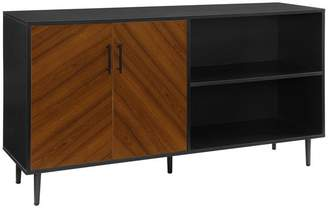 Walker Edison 58 Midcentury Modern Bookmatched Doors Asymmetrical TV Stand